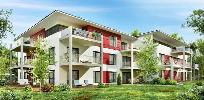 Casa Urbana Moderna Con Los Garajes Y Las Terrazas Stock De