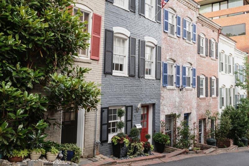 Casas urbanas en Georgetown, Washington DC fotos de archivo