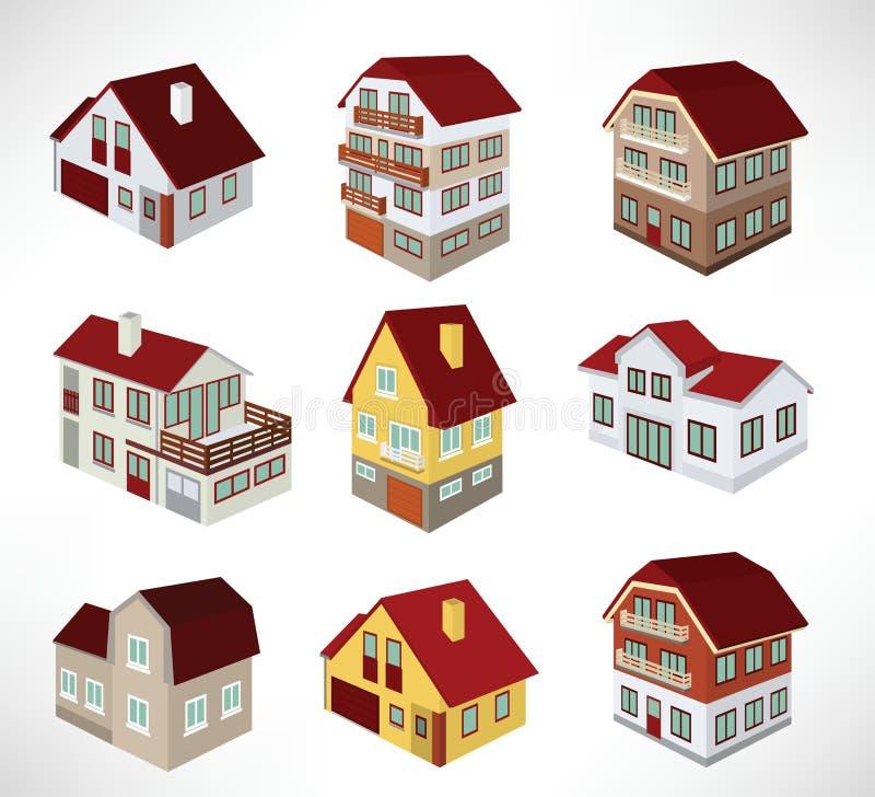 Casas urbanas en perspectiva stock de ilustración