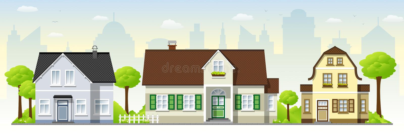 Casas velhas bonitas ilustração royalty free