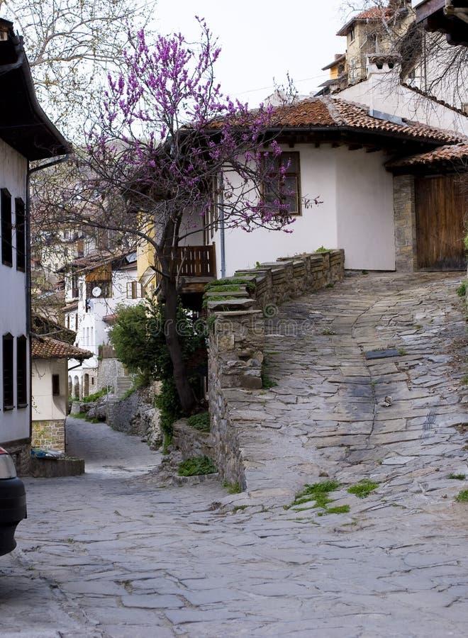 Casas velhas da opinião da cidade imagens de stock