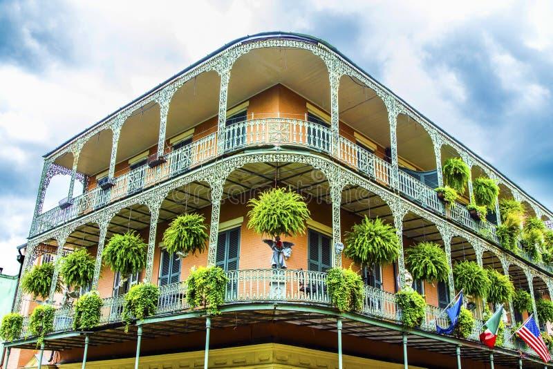 Casas velhas de Nova Orleães em francês fotografia de stock