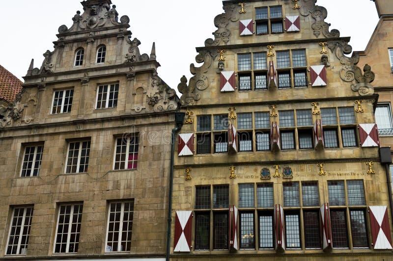 Casas velhas em Münster em Westphalia, Alemanha imagens de stock