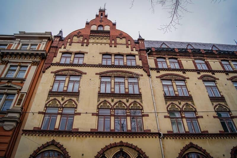 Casas velhas nas ruas de Helsínquia, Finlandia fotografia de stock royalty free