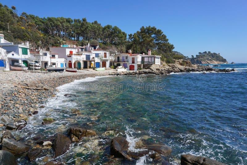Casas velhas Palamos Costa Brava dos pescadores da Espanha imagens de stock royalty free