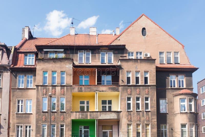 Casas velhas tradicionais do tijolo em Zabrze fotografia de stock royalty free