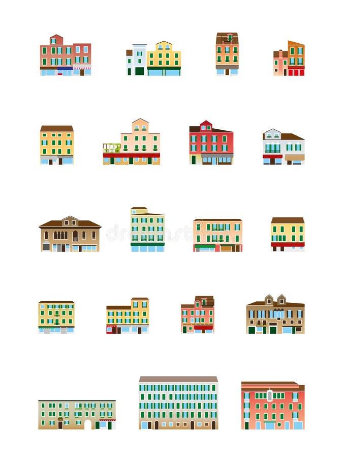 Casas Venetian ajustadas - construções italianas ajustadas imagem de stock royalty free
