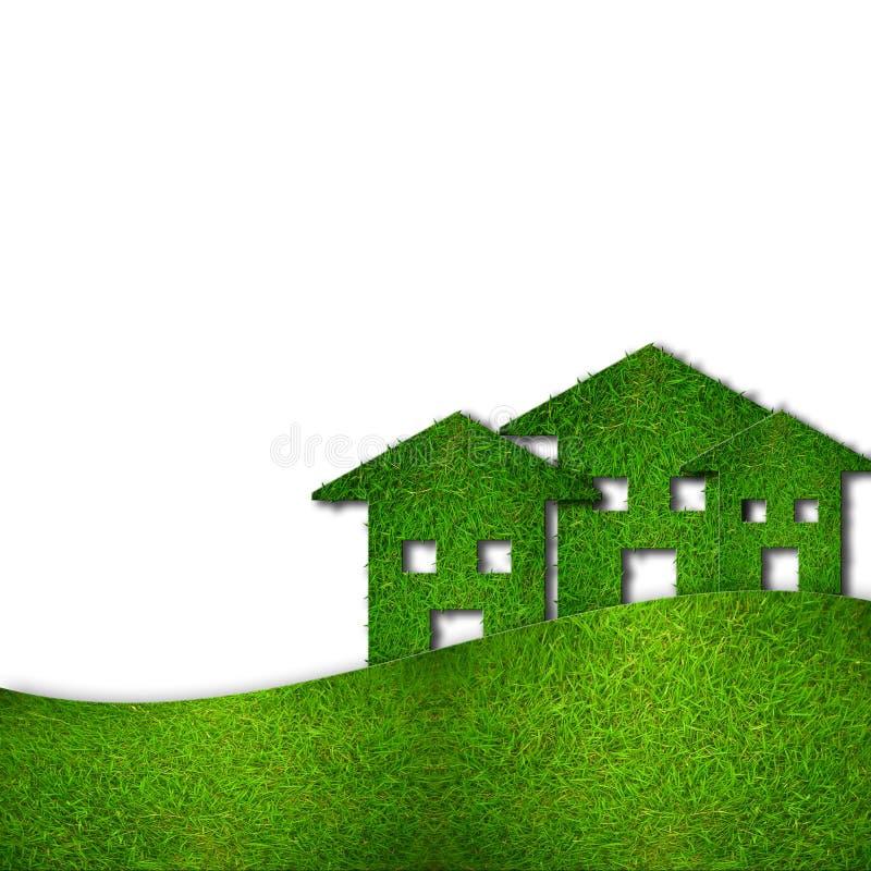 Casas verdes de Eco isolted en blanco ilustración del vector