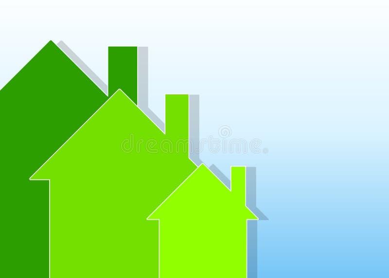 Casas verdes en fondo azul stock de ilustración