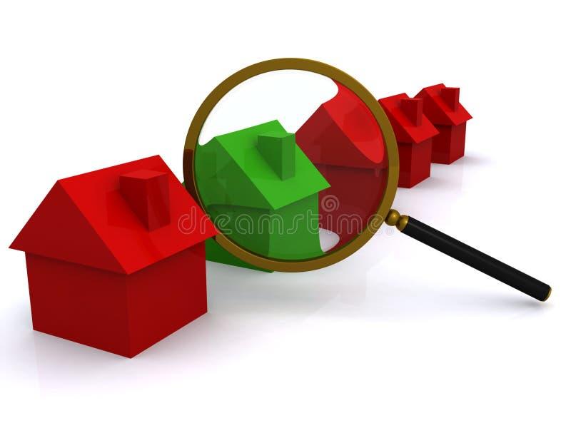Casas verdes rojas magnificadas stock de ilustración