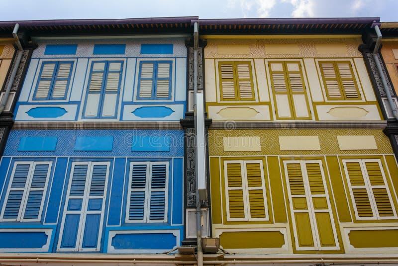 Casas viejas de Singapur fotos de archivo