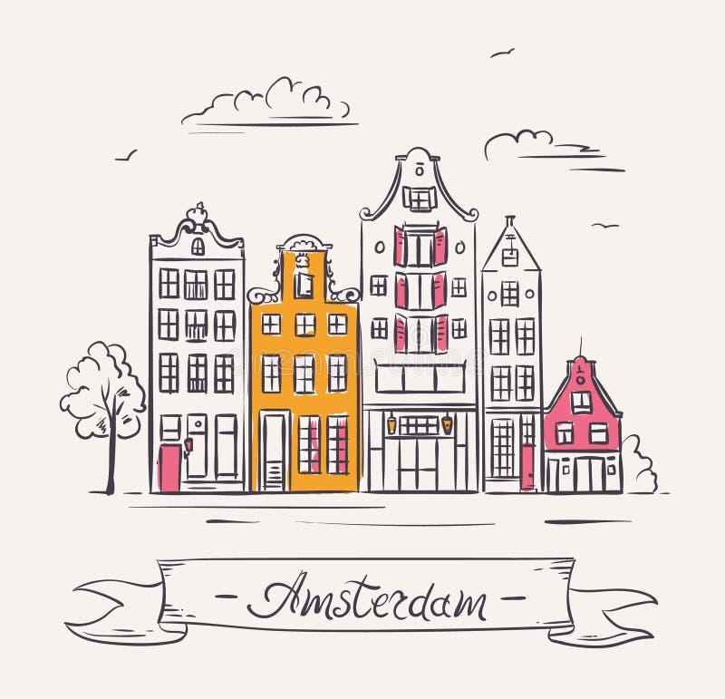 Casas viejas en Amsterdam, Países Bajos stock de ilustración