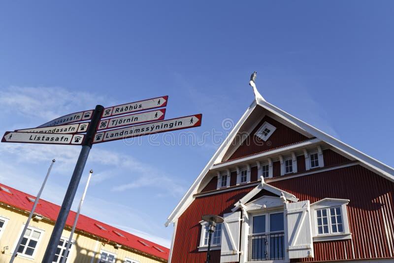 Casas viejas en el centro de Reykjavik fotografía de archivo libre de regalías