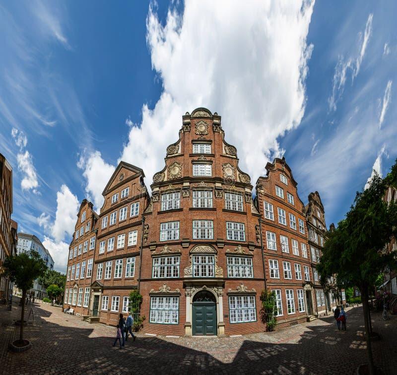 Casas viejas en Hamburgo fotografía de archivo
