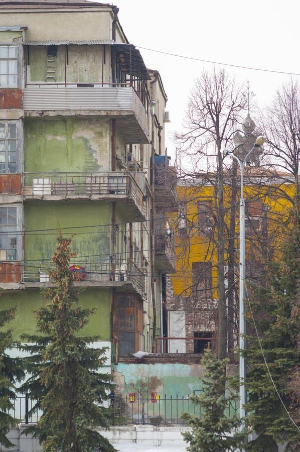 Casas viejas multicoloras foto de archivo libre de regalías