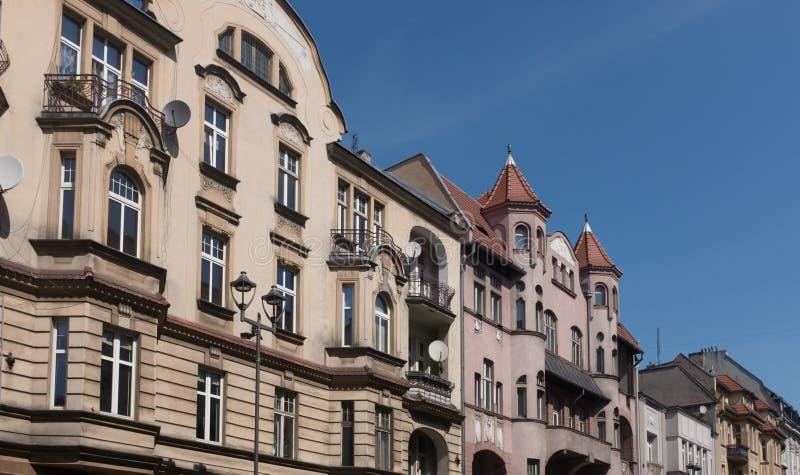 Casas viejas tradicionales del ladrillo en Gliwice fotos de archivo libres de regalías
