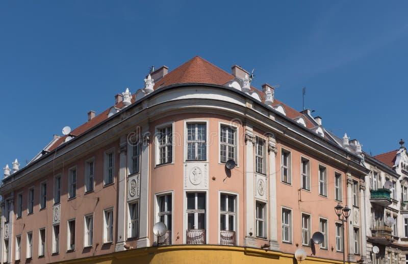 Casas viejas tradicionales del ladrillo en Gliwice fotografía de archivo