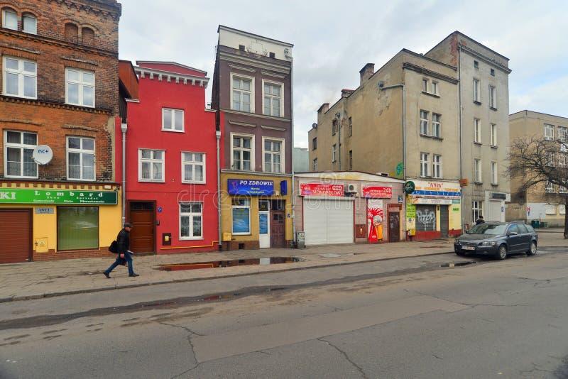 Casas vivas viejas en la ciudad vieja, Gdansk, Polonia imagen de archivo