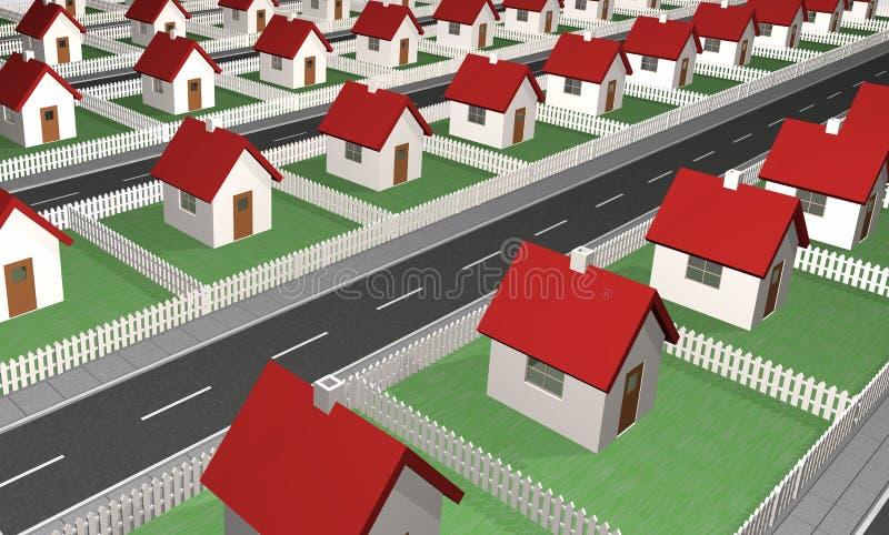Casas - vizinhança residencial ilustração do vetor
