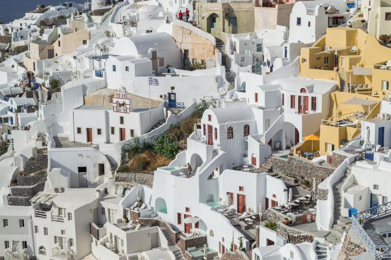 Casas Whitewashed em Oia, Santorini, Cyclades, Grécia foto de stock royalty free