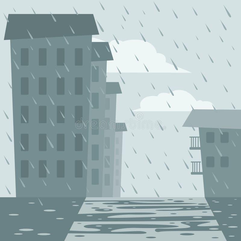 Casas y calle bajo la lluvia ilustración del vector