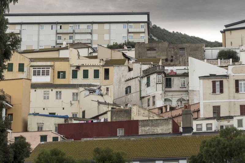 Casas y construcciones de viviendas en Gibraltar fotografía de archivo libre de regalías