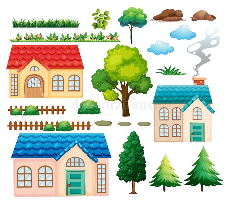 Casas y diversas plantas libre illustration
