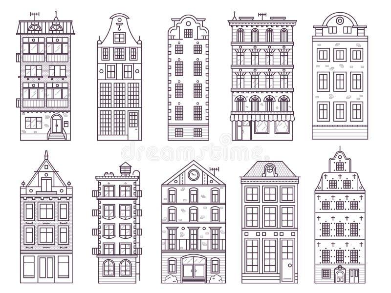 Casas y hogares de Europa viejas fijados ilustración del vector