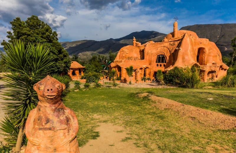 CasaTerracota hus Villa de Leyva Boyaca Colombia arkivbild