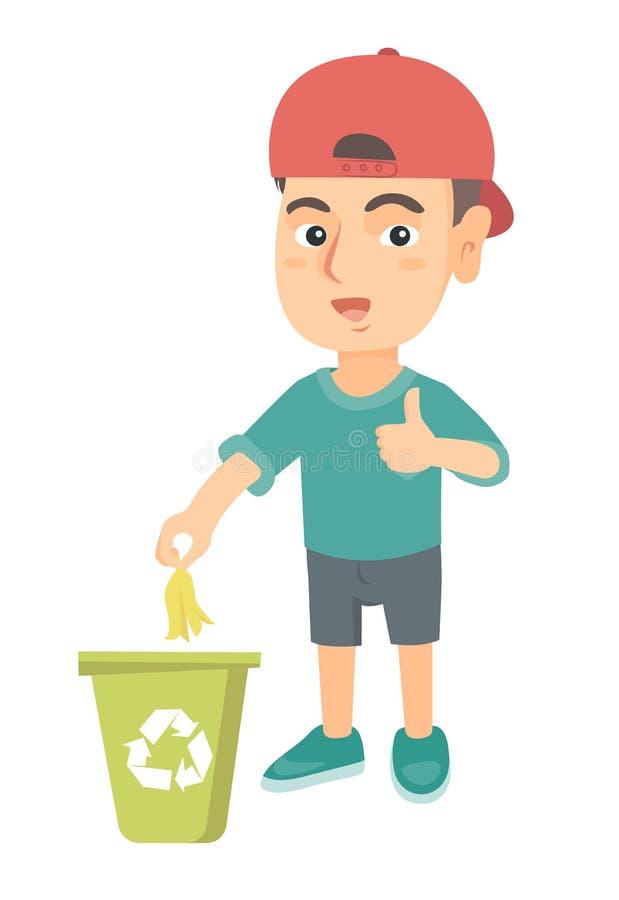 Casca de jogo da banana do rapaz pequeno no escaninho de reciclagem ilustração royalty free