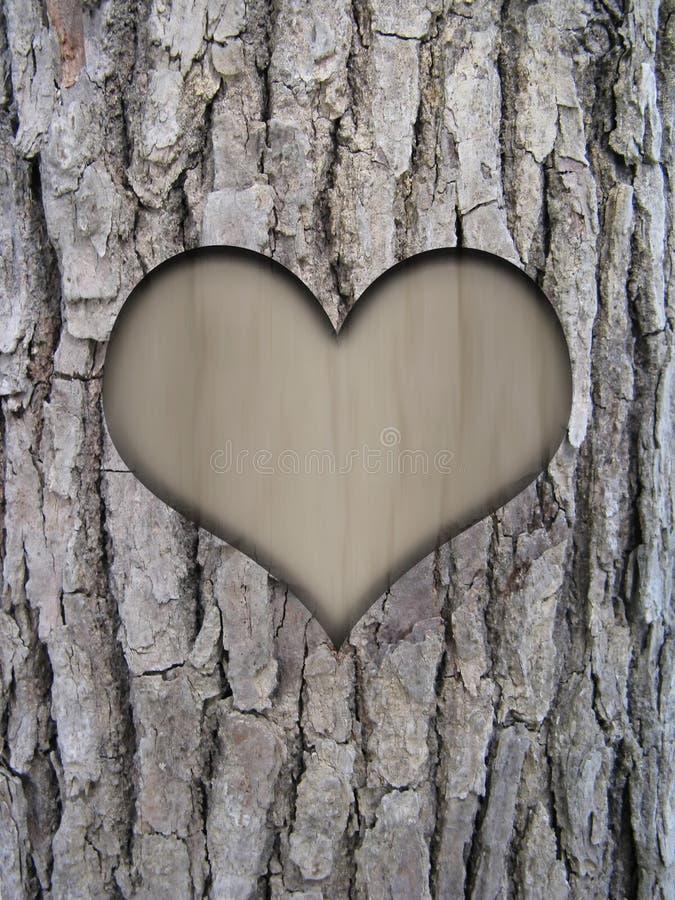 Casca do tronco e coração do amor ilustração stock