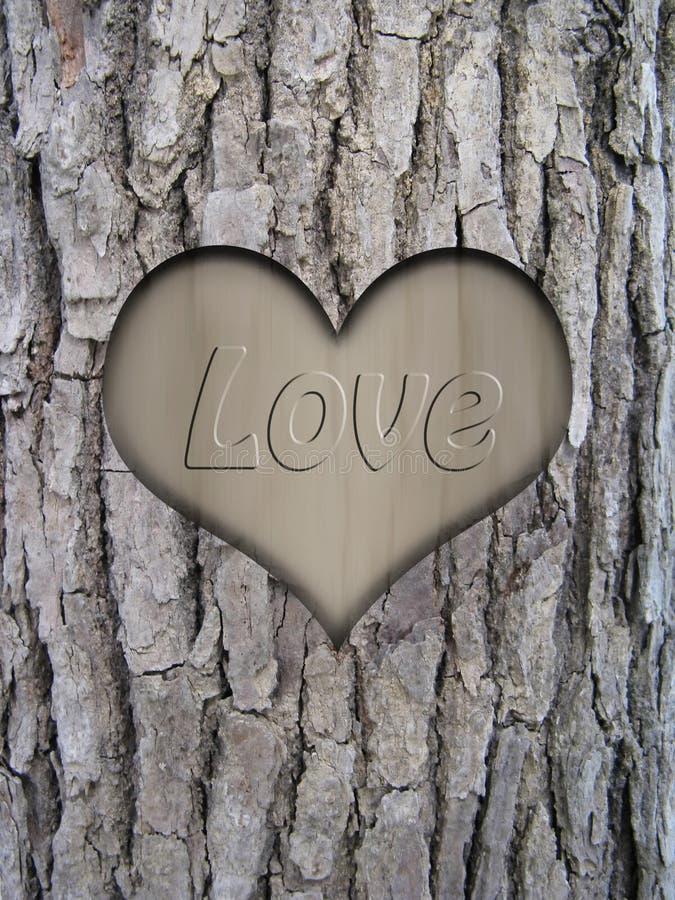 Casca do tronco e coração do amor ilustração do vetor