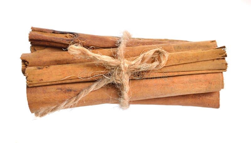 Casca do verum da canela ou da canela verdadeira ou da canela de Ceilão Isolado no fundo branco imagens de stock royalty free