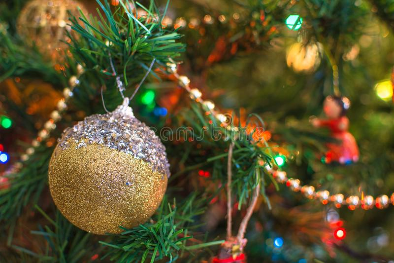 Cascabel, ramas de árbol de navidad con el fondo borroso imagenes de archivo