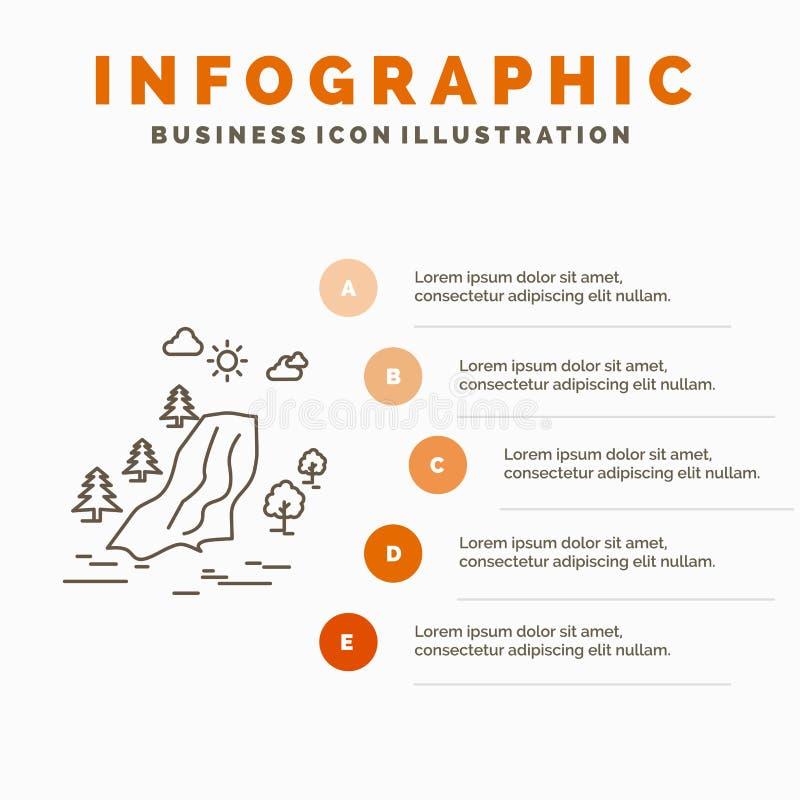 cascada, árbol, dolor, nubes, plantilla de Infographics de la naturaleza para la página web y presentación L?nea icono gris con i libre illustration