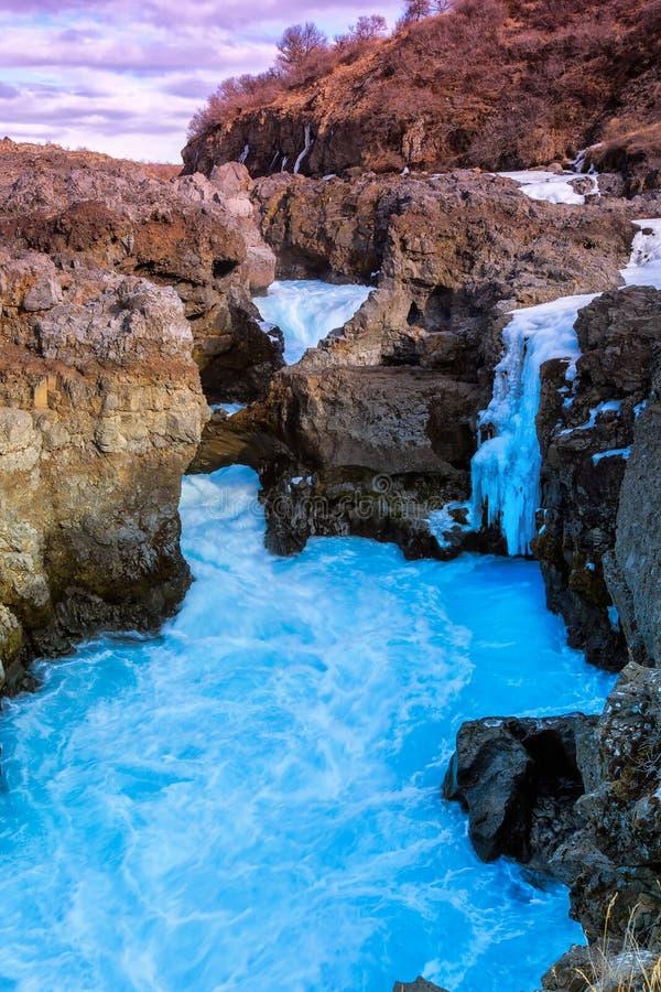 Cascada Barnafoss en Islandia fotos de archivo