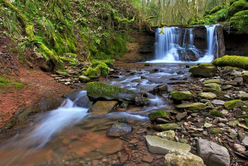 Cascada borrosa en el río Ennig; en la reserva de naturaleza de Pwll y Wrach fotos de archivo libres de regalías