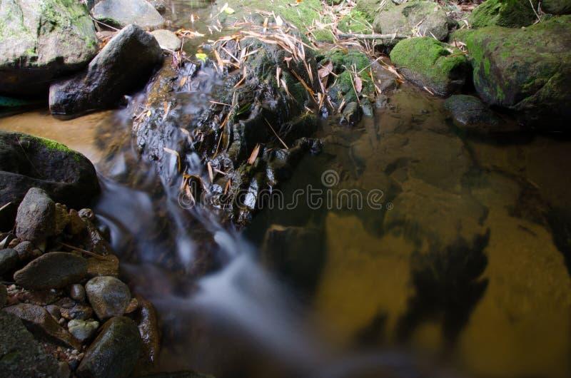 Cascada con la piedra del musgo verde en la selva tropical, Kiriwong Vil imagen de archivo libre de regalías