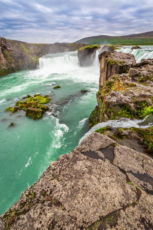 Cascada cristalina de Godafoss, Islandia foto de archivo libre de regalías