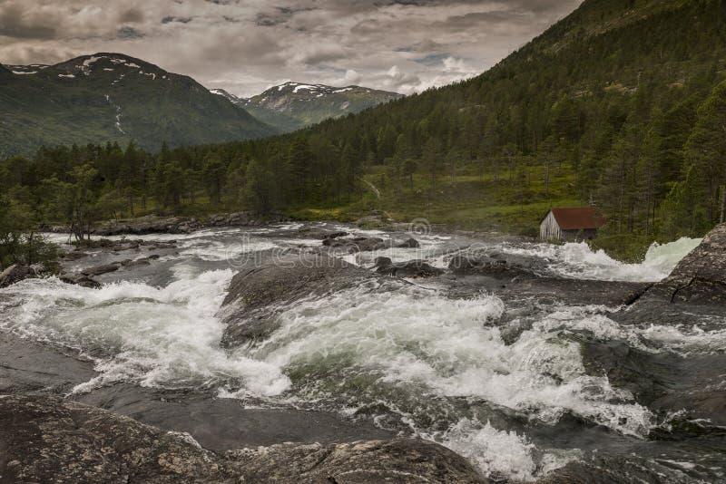 Cascada cruda en Noruega cerca de Balestrand imágenes de archivo libres de regalías