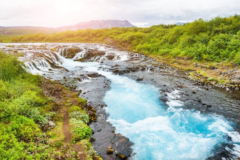 Cascada de Bruarfoss en Islandia foto de archivo