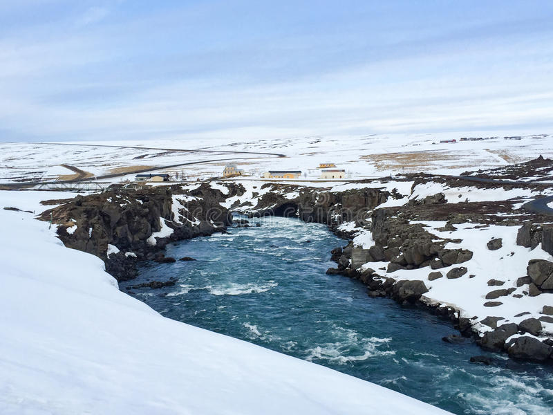 Cascada de Godafoss, carretera de circunvalación, Islandia del norte imágenes de archivo libres de regalías