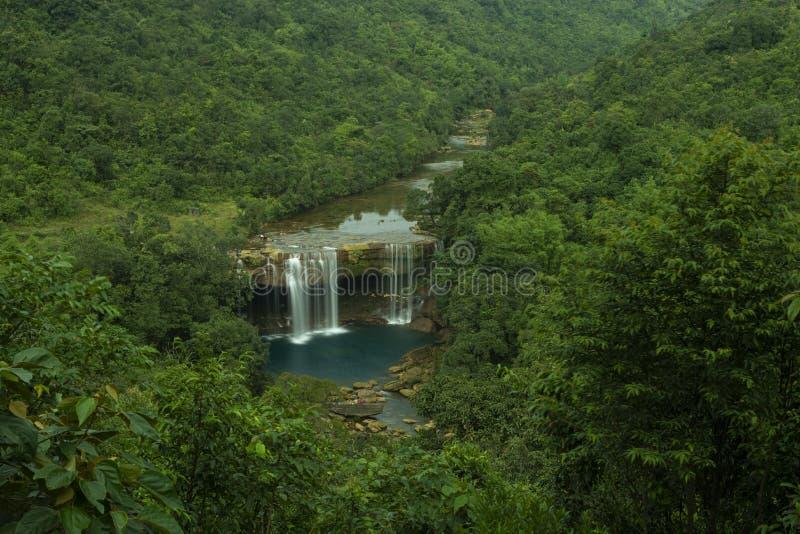 Cascada de Krang Suri una visión arial, Meghalaya, la India fotos de archivo libres de regalías