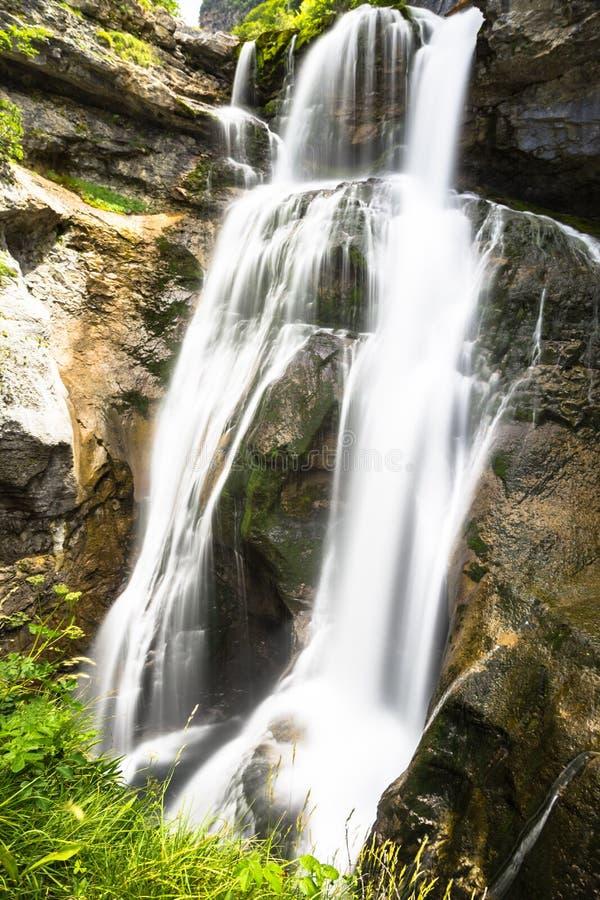 Cascada de la Cueva waterfall in Ordesa valley Pyrenees Huesca S. Pain Arazas river royalty free stock images