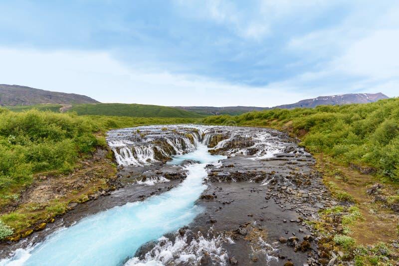 Cascada de la turquesa de Bruarfoss, Islandia del sur fotografía de archivo libre de regalías