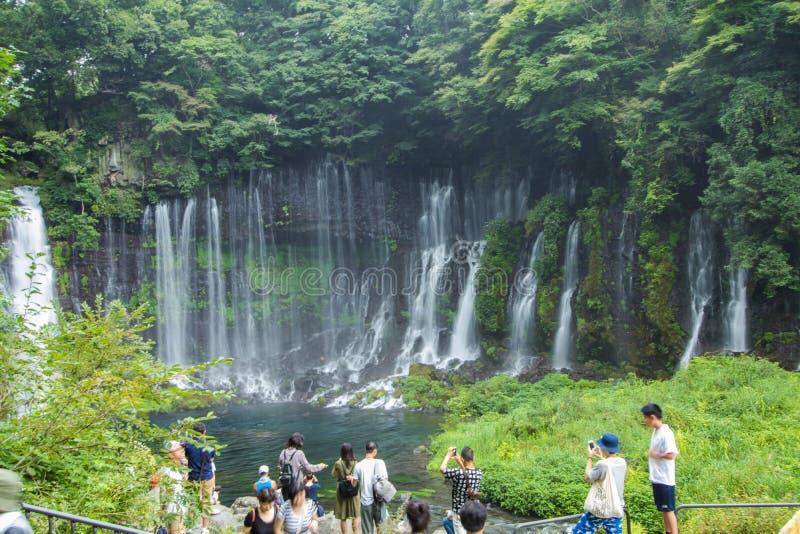 Cascada de Shiraito cerca del Mt Fuji en la prefectura de Fujinomiya, Jap fotografía de archivo