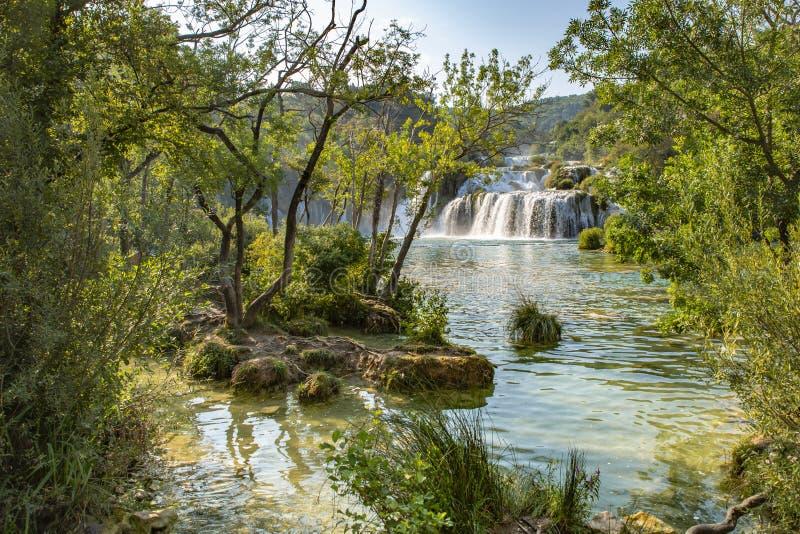 Cascada de Skradinski Buk en el parque nacional de Krka - Dalmacia Croacia, Europa fotografía de archivo libre de regalías