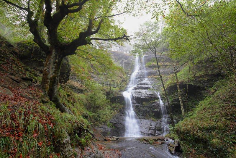 Cascada de Uguna, parque natural de Gorbea en Bizkaia, España fotografía de archivo libre de regalías