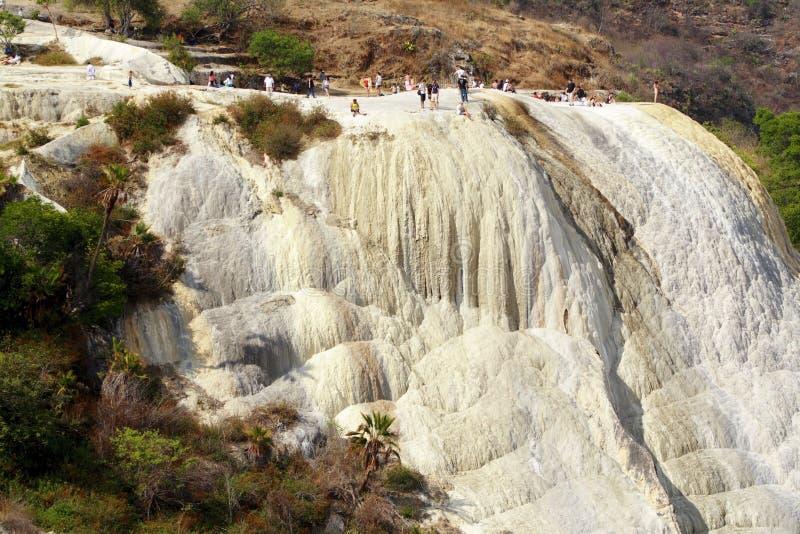 Cascada del agua del EL de Hierve imagen de archivo