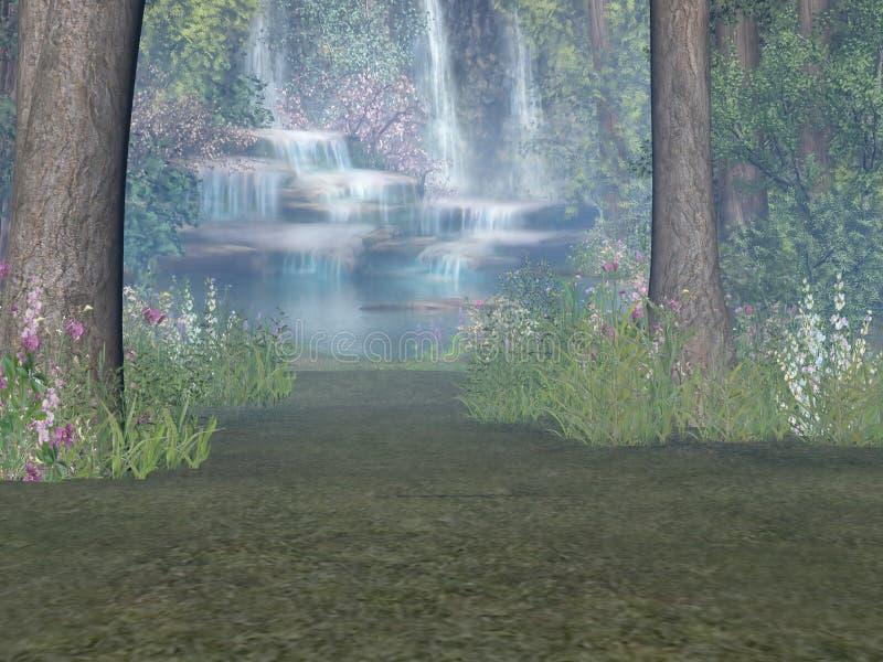 Cascada del arbolado ilustración del vector